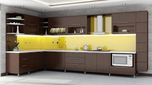 kinh op bep mau vang - Kính ốp bếp màu vàng mang đến không gian tươi mới
